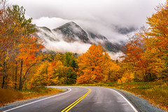 Autumn in Franconia Notch (BenjaminMWilliamson) Tags: artistsbluff autumn cannonmountain clouds colorful colors drive driving eaglecliff fall fallfoliage franconianotch image landscape nh newengland newhampshire photography prints scenery scenic storm usa whitemountains
