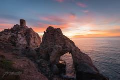 Crag of the Devils (Pomediouda) Tags: peñon piedra roca playa beach agua sea mar water amanecer sol sun nubes sky cielo paisaje landscape torre diablo devil arena horizonte montaña rock montain almeria españa d90 nikon 1020 sigma mojacar carboneras turismo