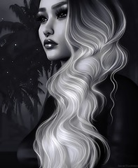 Push away from it all. (ShortTempered) Tags: secondlife sl stars editing 3d photography poses photoshop photo painting portrait lipstick hair belleza catwa beach black monochrome avatar art artlust fantasy dark