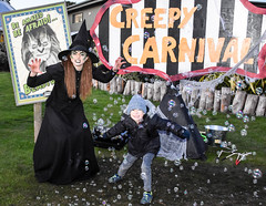 Zac and the Witch (littlestschnauzer) Tags: family nephew fun creepy carnival ywp yorkshire wildlife park uk doncaster witch tourist attraction halloween bubbles popping