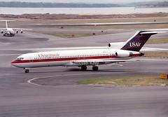 US Air Shuttle                Boeing 727                       N920TS (Flame1958) Tags: usair usairshuttle usairb727 usairshuttleb727 boeing727 boeing b727 727 shuttle n920ts 1991 bostonloganairport loganairport bostonairport kbos bos scan print