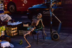 Waiting for Delivery..... (Aleem Yousaf) Tags: waiting london delivery exhausted chancery lane fruit vegetable skeleton bones chair sitting leg morning camera 70200mm nikon nikkor d810 boxes taxi bus transport