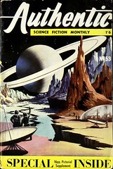 Authentic Science Fiction Monthly, No. 53 (January 1955). British digest. Cover by Davis (lhboudreau) Tags: coverart pulp magazine magazines pulpmagazine pulpmagazines magazinecoverart pulpmagazinecover pulpmagazinecovers magazinecover magazinecovers pulpart spaceart sciencefiction fantasy saturn moon digestsize digest britishdigest davis hamiltonco hamiltonandcompany greatbritain london authenticsciencefiction monthly periodical sciencefictionmonthly number53 no53 january1955 1955 magazineart paperback illustration paintedcover peak peaks aliensurface alienlandscape ringedplanet planet rings