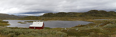 A lonely cabin (smir_001) Tags: river lake water norway norge picturesque travel tourism attraction nature outdoor landscape august summer canoneos7d norway2018 hardangerviddaplateau hardangervidda plateau steep narrow bridge beautiful vista panoramic pano panorama scenicview hardanger eidfjord hordalandcounty hardangerviddanationalpark cabin red white building vast enourmous