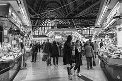 The food market (Andrea Rizzi Esk) Tags: street barcelona spain people black white market contrast november 2018 light walking food mall
