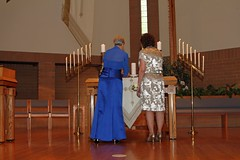 """Mrs. Morton and Mrs. Miller Lighting the Family Candles • <a style=""""font-size:0.8em;"""" href=""""http://www.flickr.com/photos/109120354@N07/46054209692/"""" target=""""_blank"""">View on Flickr</a>"""