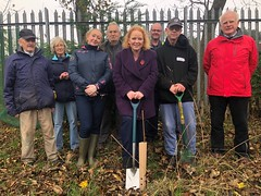 Planting saplings in Wibsey Community Garden