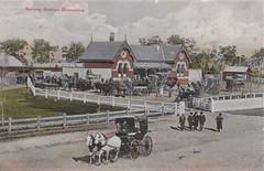 Railway Station, Bairnsdale, Victoria - circa 1910 (Aussie~mobs) Tags: vintage victoria australia taxi transport vehicle bairnsdale railwaystation sulky