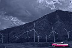Spanish Fork, Utah (oybay©) Tags: spanishfork utah ut windmills windpower utility power tinted ford oldford fordgalaxie galaxie color colors pink