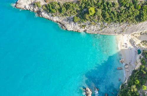 Aerial of Xigia Beach Zakynthos, Greece