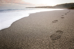 I walk alone (FX-1988) Tags: cuba foot footprint footstep step beach ocean sea sand wave water empty alone baracoa sunset self landscape nature waterscape waterfront walk black