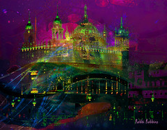Dream Castle (brillianthues) Tags: castle night glow colorful collage photography photmanuplation photoshop