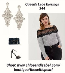Today's Featured Item: Queen's Lace Earrings $44 Shop: https://www.chloeandisabel.com/boutique/thecelticpearl/products/E484MESR/queens-lace-earrings  Join the c+i royal court with this oh-so-dazzling duo, perfectly paired with a night out on the town, a c (thecelticpearl) Tags: love trending shop trend buy lifetime guarantee chloeandisabel daily feature trendy trends rhodium shopping earrings jewelry product lace boutique queen accessories thecelticpearl ootd candi queenslace online shiny style fashion
