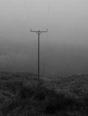 Electric pole in mist near the Colne Valley Circular Walk path below Upper Acre Head farm, Marsden. OM50mm f1.8. (kyliepics) Tags: olympus e520 evolt520 om50mmf18 blackwhite darktable addedtogroups