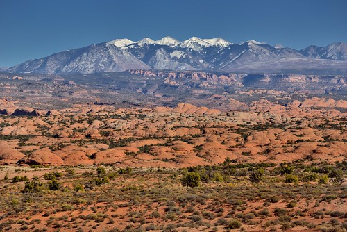 Petrified Dunes and the La Sal Mountains (Arches National Park)