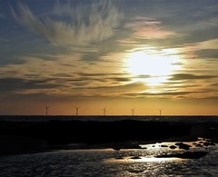 Wind Turbine Sunrise at Newbiggin-By-The-Sea (Gilli8888) Tags: nikon p900 coolpix northumberland newbigginbythesea newbiggin northsea beach sand coast coastal shore seaside seascape sun dawn sea water marine turbines windturbines offshore sunrise