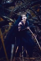 "TEATRONATURA ""Queen of nowhere (valeriafoglia) Tags: queen black dark dress dakness design nature beautiful beauty creative composition capture colors concept stylist outfit photography photo pretty portrait art atmosphere amazing fantasy forest model makeup magic"