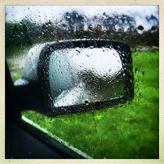 Here comes the rain again (Julie (thanks for 8 million views)) Tags: 100xthe2019edition 100x2019 image24100 squareformat raindrops window car rearviewmirror reflection water 2019onephotoeachday hipstamaticapp iphonese wexford ireland irish hww raining weather glass