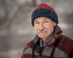 Erwin 13/100 (Dan Fleury Photos) Tags: stranger street portrait winter encounter moustache birder napanee ontario canada project strangerproject natural naturallight snowing snow