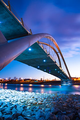 St Patrick Bridge (Adnan Salekin Saif) Tags: landscape landscapes nightphotography night longexposure bridge calgary canada alberta yyc cityscape citylights city light lightpainting architecture abstract travel vacation structure exposure streetphotography adventure discover explore sky skyline river