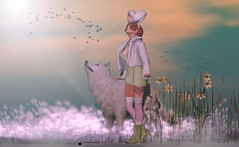Early Spring Bunny meets Winter Wolf (inkie Loudwater) Tags: fashiowlposes tlc fameshed coco monso eudora3d