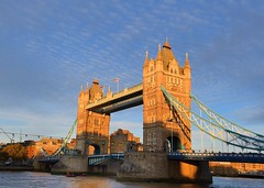 Tower Bridge under mackerel sky. (gillybooze (David)) Tags: ©allrightsreserved towerbridge london bridge riverthames sky water river boats clouds outdoor architecture building outside buildings