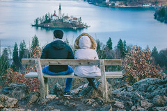 Bench With A View (freyavev) Tags: bench view bled lakebled water people couple nature hiking island church slovenia slovenija ojstrica vsco mikasniftyfifty canon canon700d