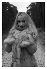 DSCF6888-Edit (Cauther Photography) Tags: female model mono blonde fur countryside trees outside cold fujifilm fuji scotland scottish fashion woman gloves coat hair eyes