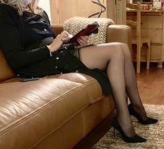 MyLeggyLady (MyLeggyLady) Tags: hot blond sex stockings garterbelt cfm hotwife milf sexy secretary teasing minidress thighs pumps leather stiletto legs heels