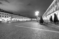 San Carlo square in Turin at evening (clodio61) Tags: europe italy piedmont sancarlo torino turin ancient architecture blackandwhite building city evening historic landmark night old photography square urban
