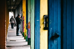 05/30 2018/02 (halagabor) Tags: street streetphoto streetphotography urban city citylife budapest colorful colors row cigarette smoke smoking walk walking walker geometry lines nikon nikkor d610 manualfocus vintagelens