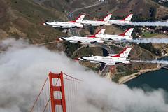 Flying Over the Golden Gate (sjrankin) Tags: thunderbirds aviation formation f16 tbirds delta usafthunderbirds afthunderbirds avgeek flying formationphotos california goldengatebridge sanfrancisco unitedstates us 5february2019 edited usaf airforce unitedstatesairforce plane fighter jet 180924fta303028