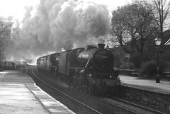 LMS Stanier 5MT No. 45212 & 45157 'The Glasgow Highlander' with WCRC 1Z50 'The Citadel' approaching Horton in Ribblesdale station on 10th November 2018 © Monochrome (steamdriver12) Tags: smoke steam coal oil mainline preservation heritage england autumn lms stanier 5mt no 45212 45407 west coast railway company wcrc 1z50 the citadel horton ribblesdale station 10th november 2018 monochrome black white yorkshire north 45157 glasgow highlander