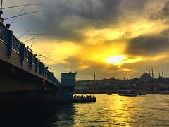 Galata Bridge | Istanbul (maryduniants) Tags: galata fishing turkey istanbul bridge sea clouds sunset mosque