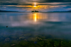 sunset 6882 (junjiaoyama) Tags: japan sunset sky light cloud weather landscape orange color lake island water nature fall autumn reflection calm underwater dusk serene rock