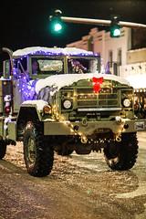Merry Christmas (wyojones) Tags: wyoming cody christmasparade sheridanavenue snow cold truck offroadvehicle lights christmasseason parade man driver passanger wyojones