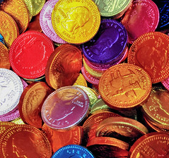 coin-a-copia... (Stu Bo) Tags: vivid money chocolate eat candy coin colorful cellphonecamera sbimageworks
