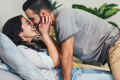 """Does Saying """"I Love You"""" First Feel Different From Hearing It? An Expert Explains (alsfakia) Tags: wisdom by alexandros g sfakianakis anapafseos 5 agios nikolaos 72100 crete greece 00302841026182 00306932607174 alsfakiagmailcom beard bed bedroom boyfriend caucasian couple cuddle cuddling day daylight embrace girlfriend handsome happy home horizontal hug hugging indoors kingsizebed kiss kissing laugh laughing lie lifestyle love man people pretty relax relaxing smile smiling together two white woman young"""