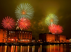 Royal Albert Dock Fireworks (Colin__Murray) Tags: liverpool uk england mersey merseyside fireworks royal albert dock water building listed sky red green cloud smoke reflection scenic lights night pyrotechnic fawkes guy display exothermic chemical rocket bonfire