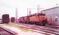 Union Pacific GP30 locomotive at the Rock Island engine house in Council Bluffs in 1976 0046 (Tangled Bank) Tags: train railroad railway old classic heritage vintage union pacific up north american america gp30 locomotive rock island engine house council bluffs 1976 0046
