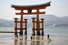 The Torii at low tide (fnks) Tags: asia japan tokyo hiroshima miyajima island sea trees ropeway shrines buddhism temples ferry sky deer beach tides tanterns water sunshine mountains