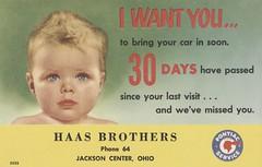 Haas Brothers Garage - Jackson Center, Ohio (The Cardboard America Archives) Tags: ohio pontiac garage repair vintage postcard