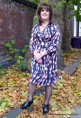 How beautifully leaves grow old! How full of light and colour are their last days! (janegeetgirl2) Tags: transvestite crossdresser crossdressing tgirl tv ts trans outside liverpool dress outdoors makeover wrap ankle boots gordon fawcett themakeoverrooms