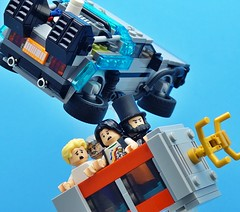 A Close Call in the Circuits of Time (Hobbestimus) Tags: lego moc bill ted excellentadventure phonebooth backtothefuture delorean timemachine 80s movie toys