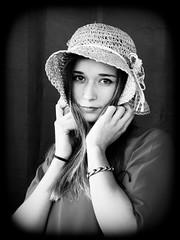 Lisa in B&W 2 (Livith Muse) Tags: nb portrait lisa chambrenoire orléans centre france fra woman beauté beauty chapeau hat panasonic lumix gx7 sigma60mmf28dn sigma60mmf28 blackandwhite modèle μ43 micro43 mirrorless 60mm noiretblanc