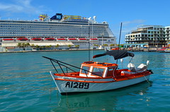 Big and Little (Neal D) Tags: aruba oranjestad boat fishingboat ursula a1289 ship cruiseship ncl norwegianbreakaway