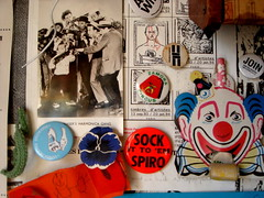 sock it to 'em (Kollage Kid) Tags: clutter studio detritus junk stuff badges mailart
