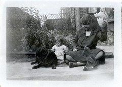 VINTAGE CHILDREN. TED AND BUNNY (JOHN MORGANs OLD PHOTOS.) Tags: vintage found photo uk unusual unitedkingdom unknown unique old interesting different bw black british and white family johnmorgan photos photographer people children ted bunny