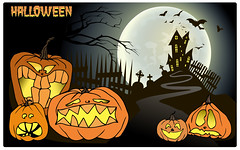Halloween background, pumpkin, castle and bat. Greeting card for party and sale. (heliga3333) Tags: halloween autumn banner bat card castle celebration cemetery creepy decorative design element fear flyer full grave greeting horror icon illustration invitation pumpkins amusing funny