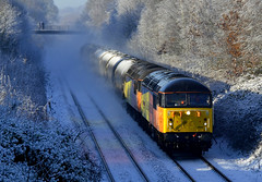 56049/090 (elr37418) Tags: 56049 56090 cherry tree blackburn colas preston grids uk lancashire england bitumen snow yellow orange